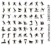 56 vector black sports icons on ... | Shutterstock .eps vector #268010639