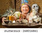 shaman in ecuadorian amazonia... | Shutterstock . vector #268016861