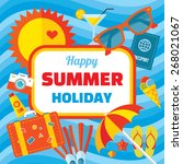 happy summer holiday   creative ... | Shutterstock .eps vector #268021067