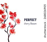 realistic sakura blossom  ... | Shutterstock .eps vector #268026905
