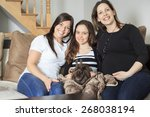 a family with his pet rabbit at ... | Shutterstock . vector #268038194