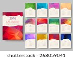 geometrical calendar of 2016.... | Shutterstock .eps vector #268059041