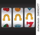 slot machine threesome horseshoe | Shutterstock .eps vector #268082477