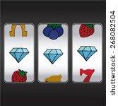 slot machine  threesome diamonds | Shutterstock .eps vector #268082504