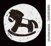 doodle rocking horse | Shutterstock .eps vector #268083884