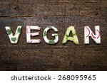 letters of healthy vegetable... | Shutterstock . vector #268095965