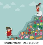 hipsters ladies with mountain... | Shutterstock .eps vector #268111019