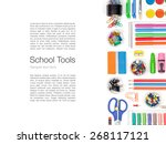 school supplies on white... | Shutterstock . vector #268117121