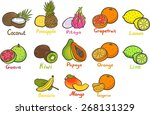isolated set of tropical fruits.... | Shutterstock .eps vector #268131329