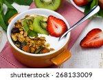 breakfast with  fresh greek... | Shutterstock . vector #268133009