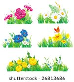 flowers and grass. vector... | Shutterstock .eps vector #26813686