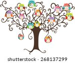 colorful owls in pretty tree | Shutterstock .eps vector #268137299