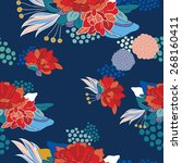 hand drawn floral seamless... | Shutterstock .eps vector #268160411