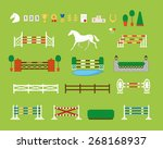 Stock vector horse jumping obstacle arena 268168937