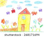 child drawing family house | Shutterstock . vector #268171694