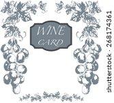 vector wine card menu with hand ...   Shutterstock .eps vector #268174361