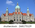 Stock photo hannover germany april people enjoying sun in front of new town tall at the maschpark april 268175129