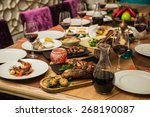 served for a banquet table.... | Shutterstock . vector #268190087
