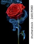 Image Of A Red Rose In Clouds...