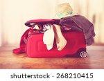 open red suitcase and floor... | Shutterstock . vector #268210415