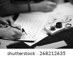 practicing beautiful writing | Shutterstock . vector #268212635