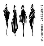 fashion models silhouettes hand ... | Shutterstock .eps vector #268215641