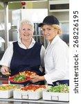 portrait of two dinner ladies...   Shutterstock . vector #268226195