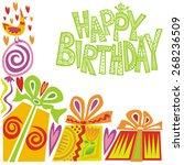 happy birthday greeting card... | Shutterstock . vector #268236509