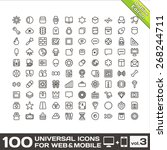 100 universal line icons for... | Shutterstock . vector #268244711