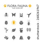 vector flat icon set   flora...
