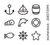 vector marine icons | Shutterstock .eps vector #268272095