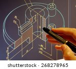 designer working on a cad... | Shutterstock . vector #268278965