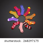 vector colored socks in a... | Shutterstock .eps vector #268297175