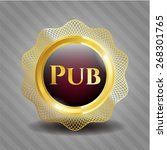 pub golden emblem with complex... | Shutterstock .eps vector #268301765