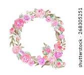 watercolor flower alphabet.... | Shutterstock . vector #268305251