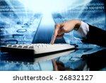 businessman input data | Shutterstock . vector #26832127