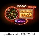 neon sign pizza | Shutterstock .eps vector #268324181