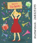 a cute girl with red dress... | Shutterstock .eps vector #268325195