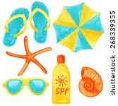 set of summer beach accessories.... | Shutterstock .eps vector #268339355