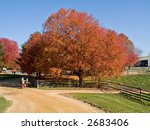 An artist sketches a colorful Fall scene in at Holmdel Park in New Jersey. - stock photo