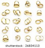20 isolated gold wedding rings | Shutterstock . vector #26834113