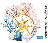 Watercolor  Sea  Compass ...