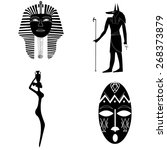 african silhouettes  the mask... | Shutterstock .eps vector #268373879