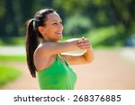 happy woman stretching body ... | Shutterstock . vector #268376885