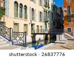 View of a typical venetian bridge, Venice, Italy - stock photo