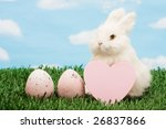 rabbit holding blank pink paper ... | Shutterstock . vector #26837866