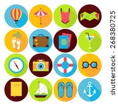 flat summer holiday icons set.... | Shutterstock .eps vector #268380725