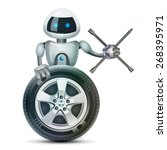 robot stands behind the wheel... | Shutterstock .eps vector #268395971