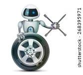 robot stands behind the wheel... | Shutterstock .eps vector #268395971