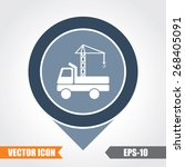 crane truck icon on map pointer.... | Shutterstock .eps vector #268405091